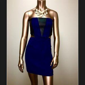 ✨Emerson Thorpe✨ Leather & Silk Cut-Out Mini Dress